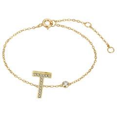 T Initial Bezel Chain Bracelet