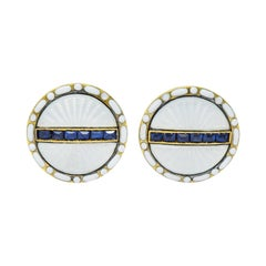 T. & J. Bragg British Art Deco Sapphire Enamel 15 Karat Gold Men's Cufflinks