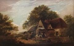 """""""A Rustic Farmyard Scene"""", Victorian landscape,  original oil on canvas"""