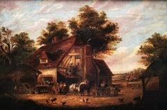 """Victorian Country Farmyard Scene"", Summer landscape, figures, oil on canvas"