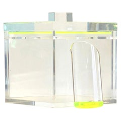 T. Mortimer Square Clear Lucite, Neon Green Accents Ice Bucket, Lid and Scooper