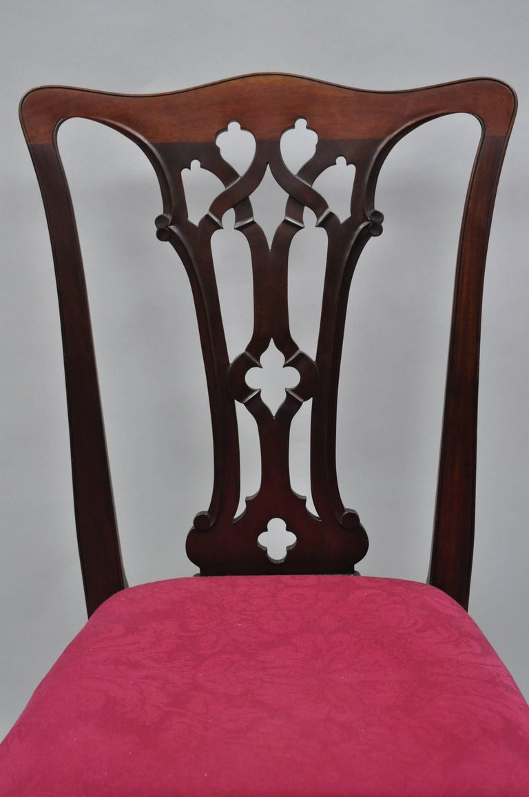 T Robinson And Sons Makers Antique Solid Mahogany Chippendale Style Side Chairs For Sale At 1stdibs