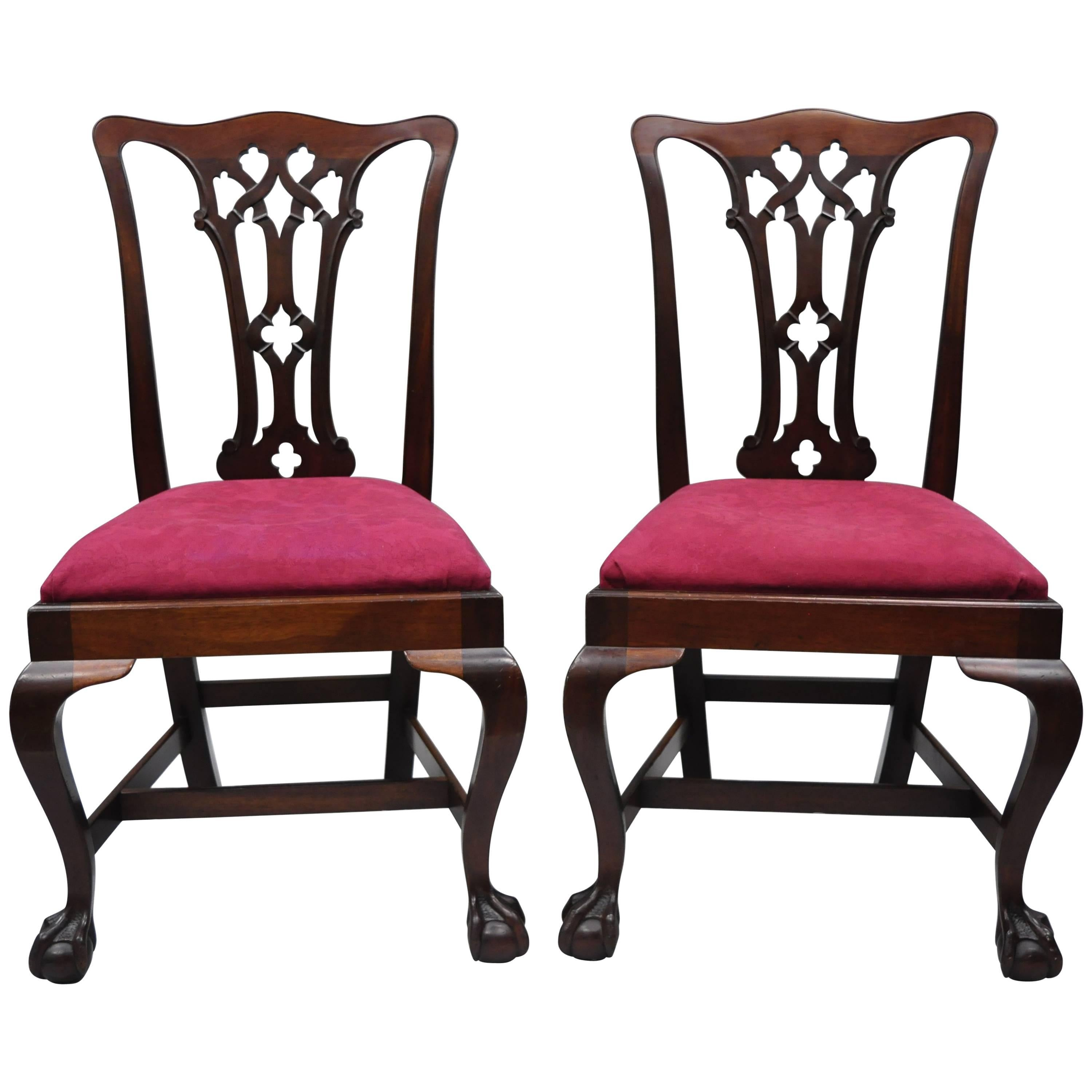 T. Robinson & Sons Makers Antique Solid Mahogany Chippendale Style Side Chairs