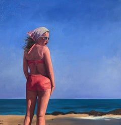 """A Summer Place"" Oil painting of a woman in a pink suit standing by the beach"