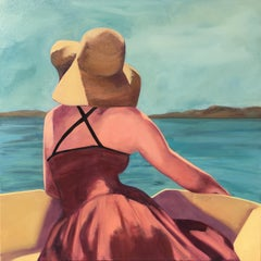 """""""Afternoon on the Water"""" Woman in a Sunhat on a Boat, Blues, Ochres, Reds"""