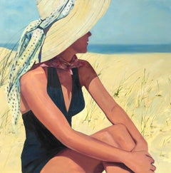 ''At the Shore''Oil painting of women in black swimsuit and sunhat at the beach