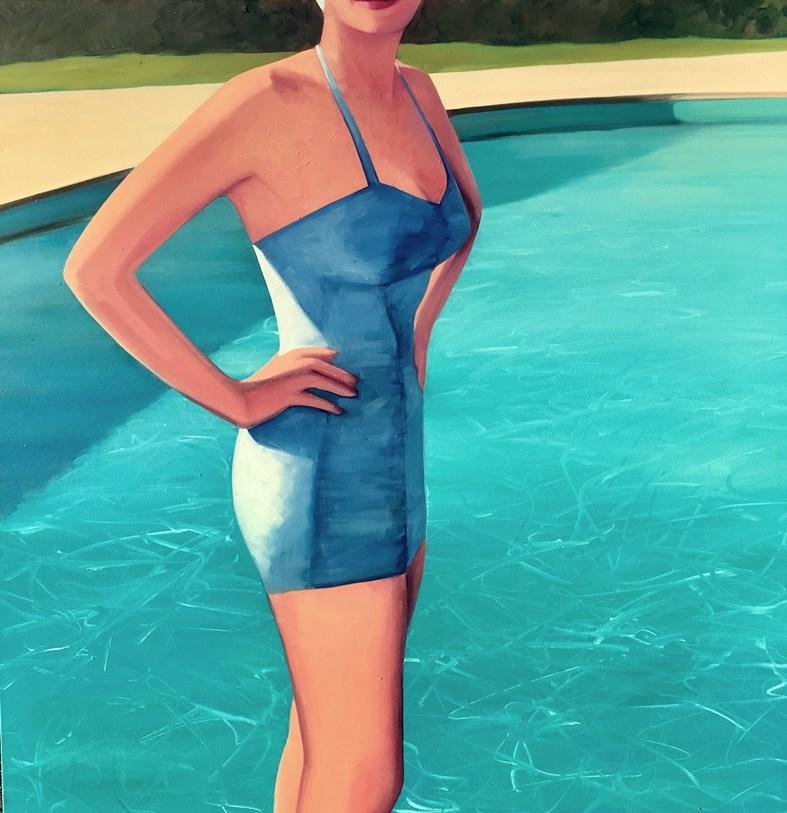 Backyard Swimming Pool, oil painting by TS Harris