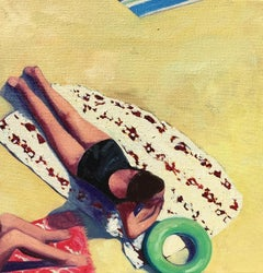 """Beach Day II"" Oil painting of a woman in black suit sunbathing"