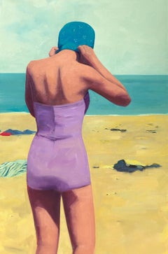 """Beach Swim"" oil painting of woman at the beach in purple swimsuit and blue cap"