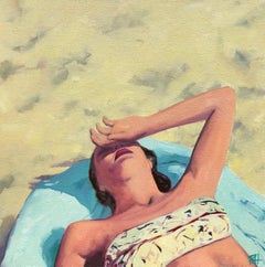 """Beach Swoon"" oil painting of a woman sunbathing on a blue towel at the beach"