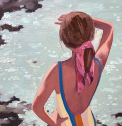 """Dazzling Sea"" oil painting of a girl looking out on the shimmering water"