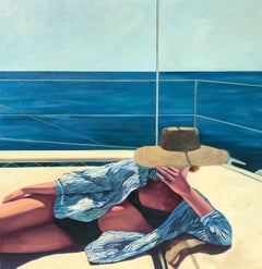 """Deep Blue Sunshine"" Oil painting of woman in a black suit and sun hat on a boat"