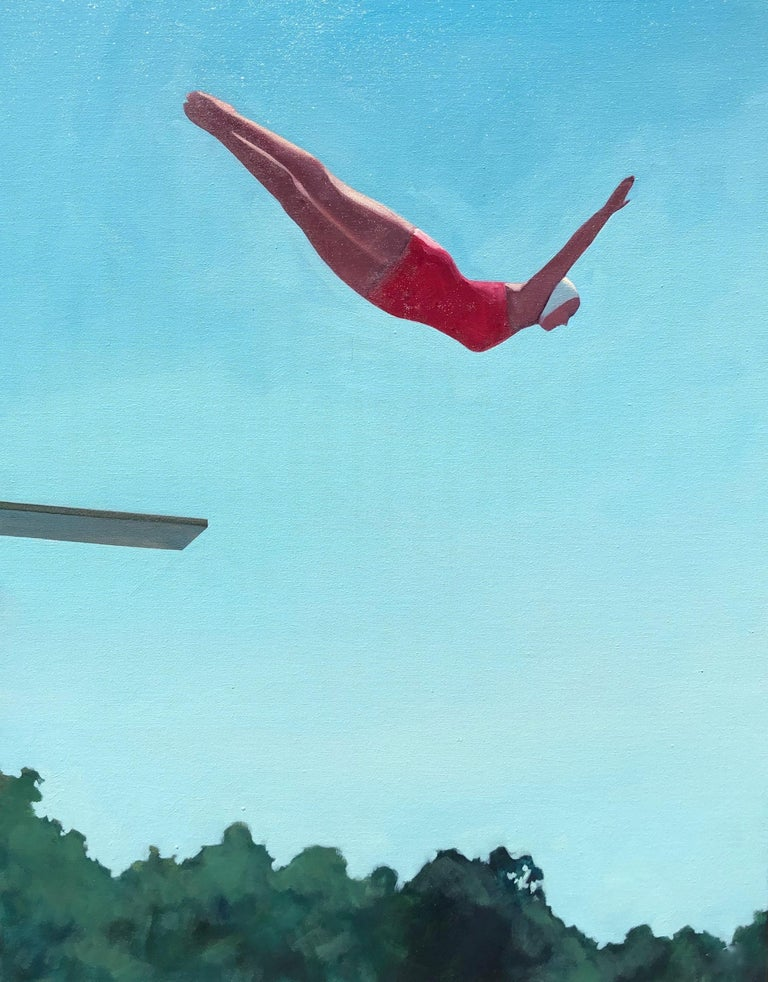 """T.S. Harris Figurative Painting - """"Diving In"""" oil painting of a diver in midair in a red swimsuit against blue sky"""