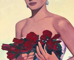 """""""Encore"""" oil painting of a woman in strapless dress with red lips holding roses"""