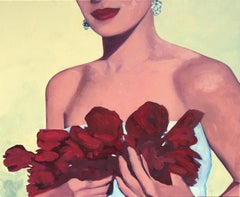"""""""Encore"""" Oil painting of a woman with red lipstick holding red rose petals"""