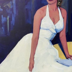 """Evening Out"" oil painting of a woman in a vintage white dress dark background"