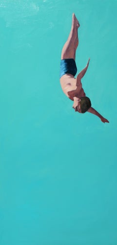 """Glide II"" vertical oil painting of a man diving with turquoise background"