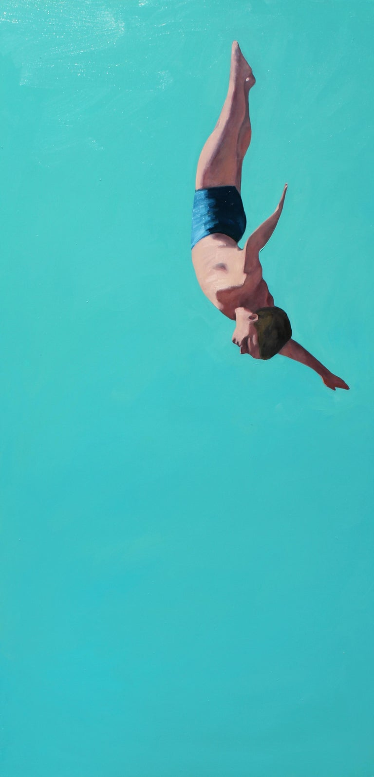 "T.S. Harris Figurative Painting - ""Glide II"" vertical oil painting of a man diving with turquoise background"