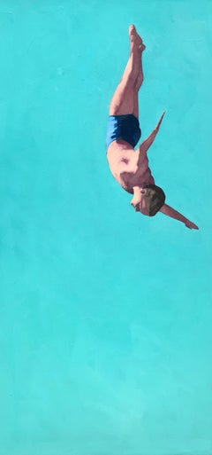"""Glide"" vertical oil painting of a male diver with turquoise background"