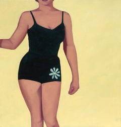 """""""Golden Girl"""" oil painting of a woman in a black swimsuit against a yellow back"""