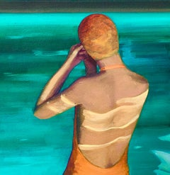 """Indoor Swimming Pool"" Oil painting of swimmer in orange cap"