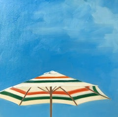 """Picnic at the Shore"" oil painting of green and orange striped umbrella blue sky"