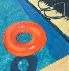 """Pool Floaty"" Bright Orange Toy Floating in Deep End of Blue Pool"