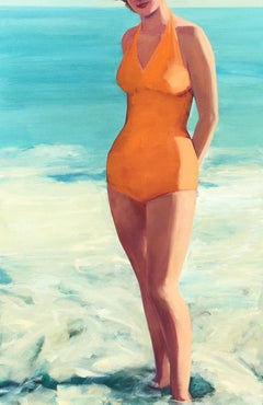 """Posing at the Shore"" Woman in Vintage Orange Bathing Suit Standing in the Surf"