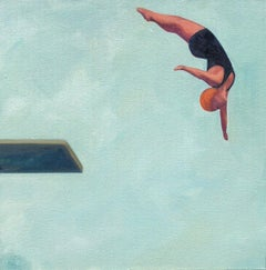 ''Reaching High'' Oil painting of women in black swimsuit diving, blue sky