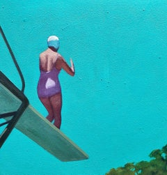 """""""Ready to Launch"""" Oil Painting of a female diver on a diving board with blue sky"""