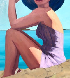 """""""Rocky Shore"""" oil painting of a woman in purple swimwear and a hat at the beach"""