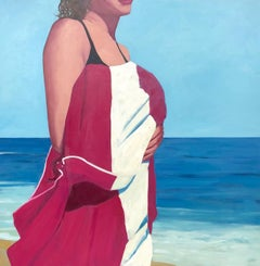 Striped Beach Towel, oil painting by TS Harris