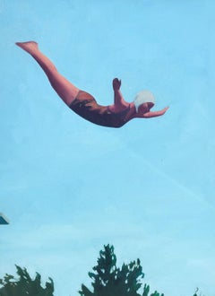 """""""Summer Dive"""" oil on canvas painting of a woman diving with blue sky background"""