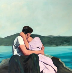 ''Summer Is For Lovers'' Oil painting of couple on a boat in a blue lake kissing