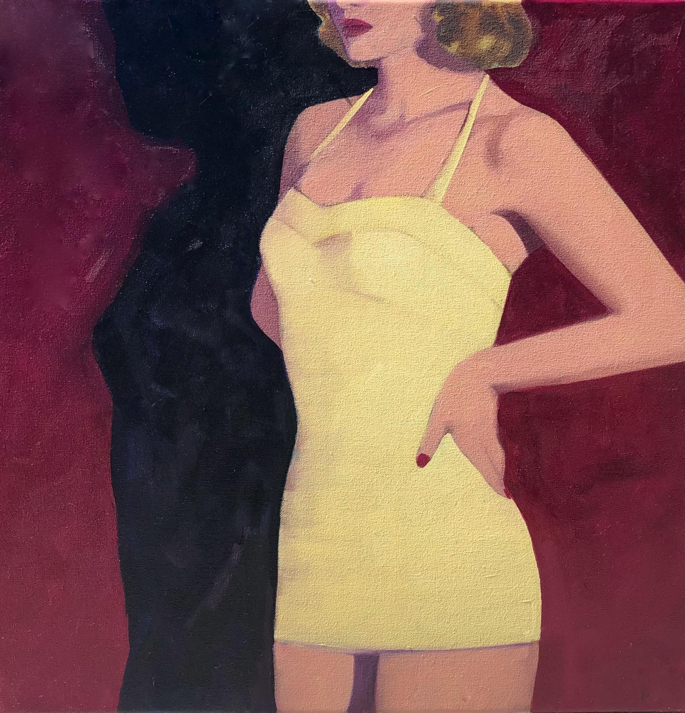 """""""Summer Noir"""" oil painting of woman's torso in yellow swimsuit against red wall"""