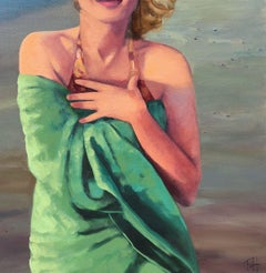 ''Sunset at the Shore'' Oil painting of a women wrapped in a green beach towel