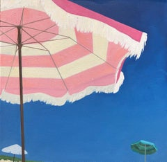 """""""Umbrellas at the Shore"""" oil painting of a pink striped beach umbrella"""