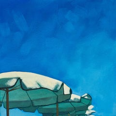 """""""Umbrellas in a Row"""" Oil painting of a bright blue sky with three umbrellas"""