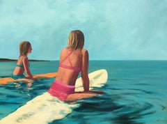 """Waiting for Waves"" oil painting of two girls floating on surfboards in ocean"
