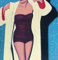 """""""Yellow Robe"""" oil on canvas painting of a woman in a swimsuit and yellow robe"""