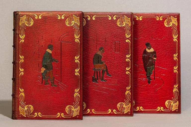 3 volumes.   Bound in full red Morocco with multicolored inlays on front covers by Bayntun, all edges gilt, raised bands, gilt on spines. Illustrated with hand-colored plates.  Published: London: J. Mawman, 1819.