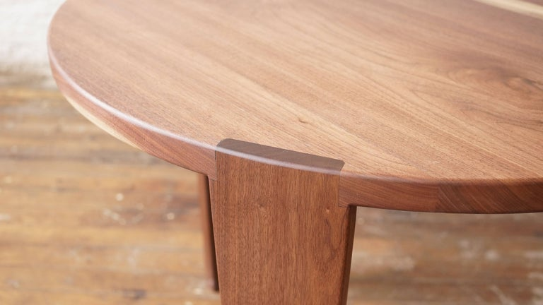 Modern T08 Round Dining Table, Handcrafted in Solid Walnut For Sale