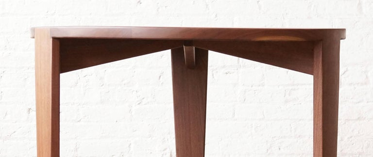 American T08 Round Dining Table, Handcrafted in Solid Walnut For Sale