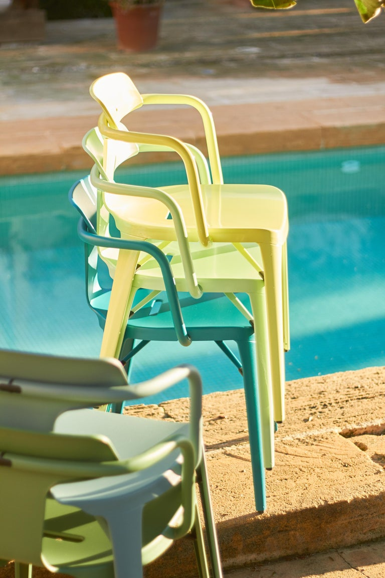 T14 Chair in Coral by Patrick Norguet and Tolix For Sale 8