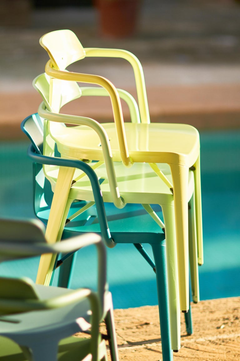 French T14 Chair in Coral by Patrick Norguet and Tolix For Sale