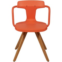 T14 Chair in Coral with Wood Legs by Patrick Norguet and Tolix