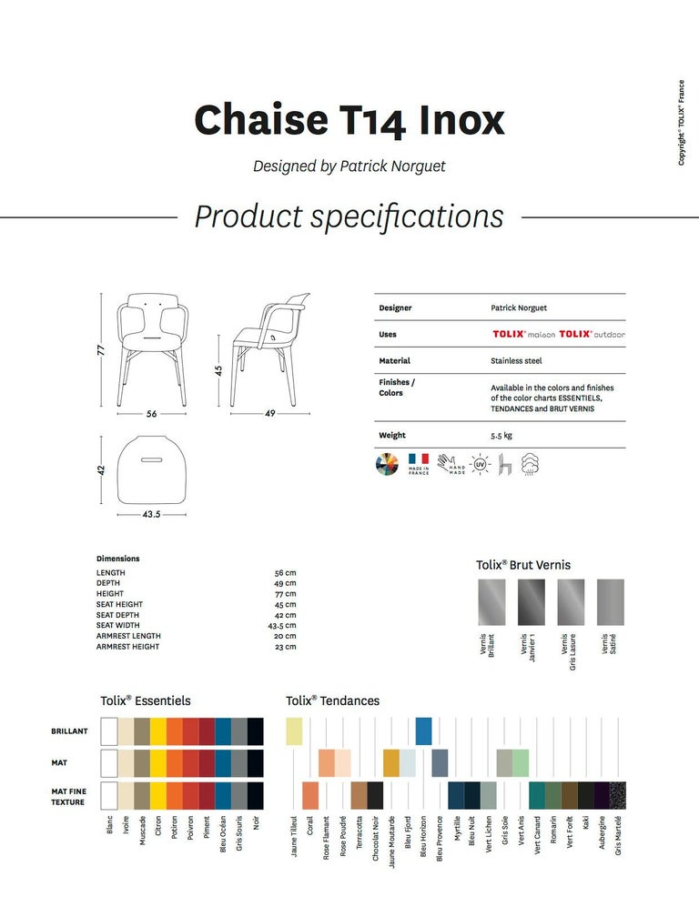 T14 Chair in Essential Colors by Patrick Norguet and Tolix For Sale 11