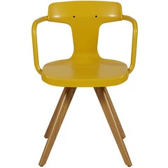 T14 Chair in Mustard Yellow with Wood Legs by Patrick Norguet and Tolix