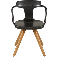 T14 Chair in Specked Grey with Wood Legs by Patrick Norguet and Tolix