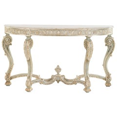 T149/F Italian Hand Carved Wooden Console with Marble Top and Silver by Zanaboni